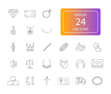 Line icons set of Jewelry pack Vector Illustration