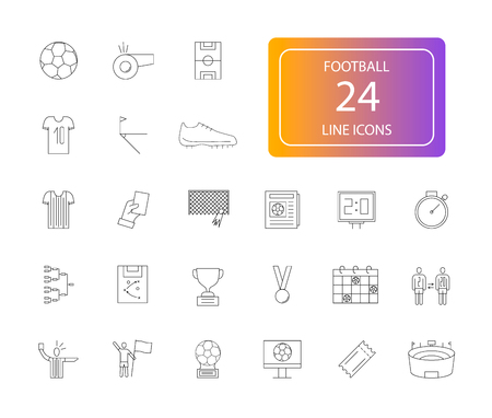Line icons set of Football pack Vector Illustration Vectores
