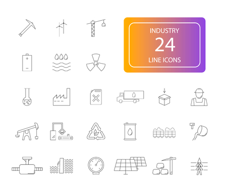 Line icons set of Industry pack Vector Illustration