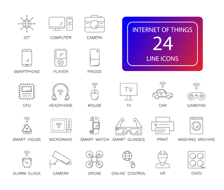 Line icons set. Internet of Things pack. Vector illustration.