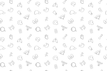 Vector anatomy pattern. Anatomy seamless background. Vectores