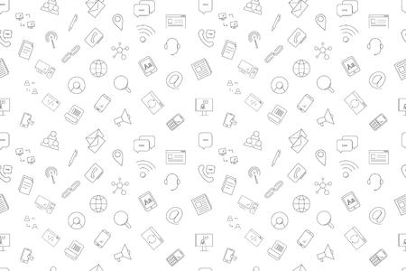 Vector communication pattern. Communication seamless background Illusztráció
