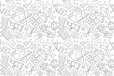 Patrón de ciencia vectorial. Fondo transparente de ciencia