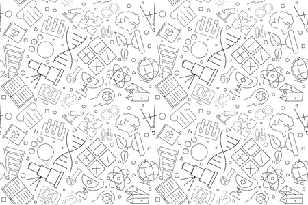 Vector science pattern. Science seamless background Stock Illustratie
