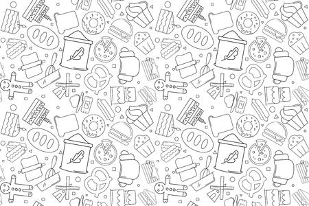 Vector Bakery pattern. Bakery seamless background Illustration