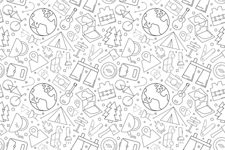 Vector camping pattern. Camping seamless background