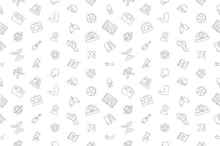Vector profession pattern. Profession seamless background