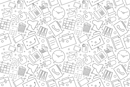Vector workplace pattern. Workplace seamless background Ilustrace
