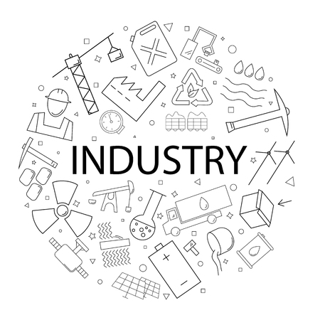 Vector industry pattern with word. Industry background Иллюстрация
