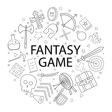 Vector fantasy game pattern with word. Fantasy game background Ilustração