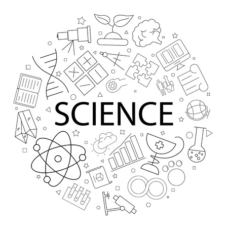Vector science pattern with word. Science background