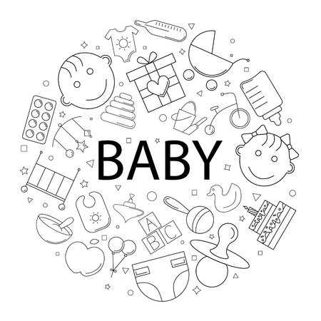 Vector baby pattern with word. Baby background Ilustracja