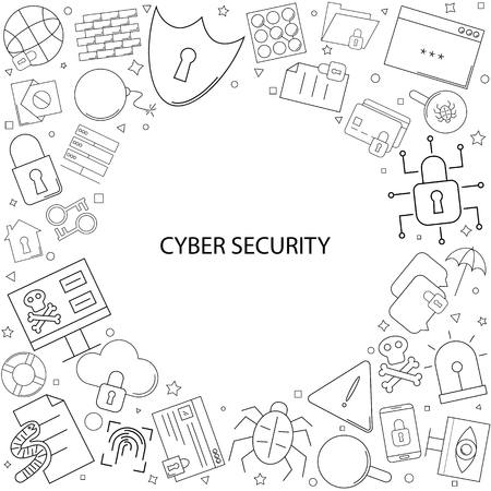 Cyber ??security background from line icon. Linear vector pattern. Illustration