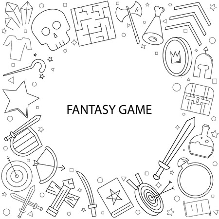 Fantasy game background from line icon. Linear vector pattern