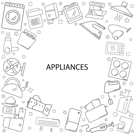 Appliances background from line icon. Linear vector pattern with washing machine, refrigerator, burner and kettle design.