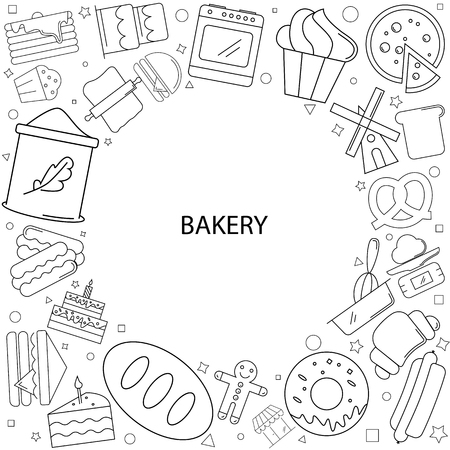 Bakery background from line icon, linear vector pattern with bread, cup cake, pizza and sandwich design. Illustration