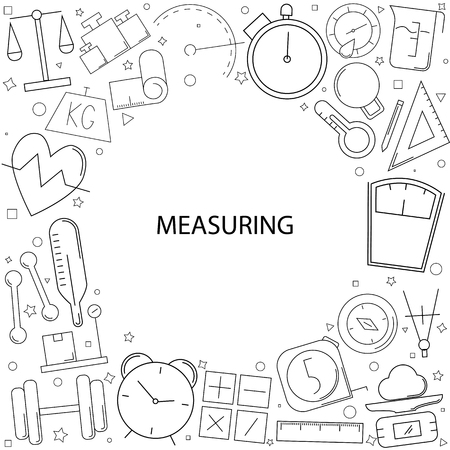 Measuring background from line icon. Linear vector pattern