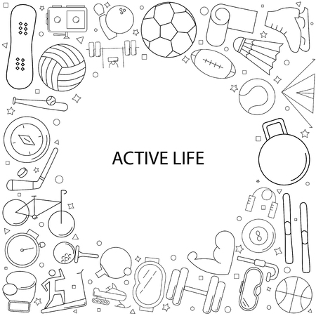 Active life background from line icon. Linear vector pattern