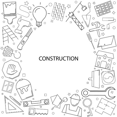 Construction background from line icon. Linear vector pattern Illustration