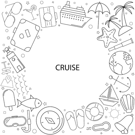 Cruise background from line icon. Linear vector pattern Ilustracja