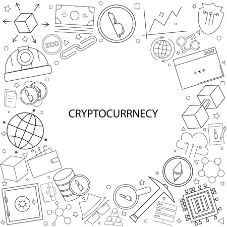 Cryptocurrency background from line icon. Linear vector pattern