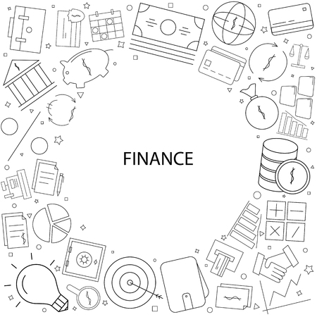Finance background from line icon. Linear vector pattern 일러스트