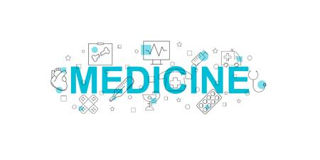 Medicine vector banner. Word with line icon. Vector background Stock Illustratie