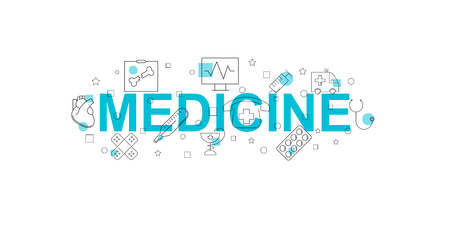 Medicine vector banner. Word with line icon. Vector background Illustration
