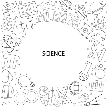 Science background from line icon. Linear vector pattern