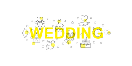 Wedding vector banner. Word with line icon. Vector background