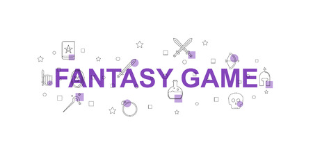 Fantasy game vector banner. Word with line icon. Vector background