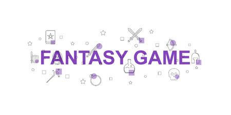 Fantasy game vector banner. Word with line icon. Vector background Banco de Imagens - 101816778