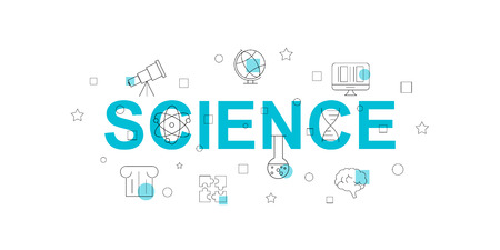 Science vector banner. Word with line icon. Vector background
