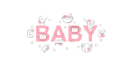 Baby vector banner. Word with line icon. Vector background Ilustracja