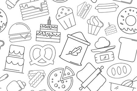 Vector Bakery pattern. Bakery seamless background Vecteurs