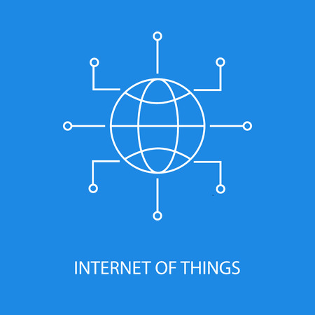 Internet of Things vector icon or design element in outline style on blue background Ilustrace