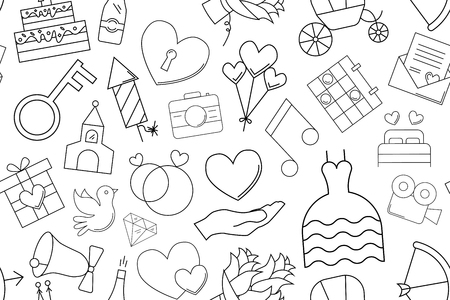 Vector wedding pattern. Wedding seamless background Ilustração