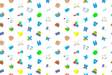 Baby background from color icon. Multicolor vector pattern Illustration