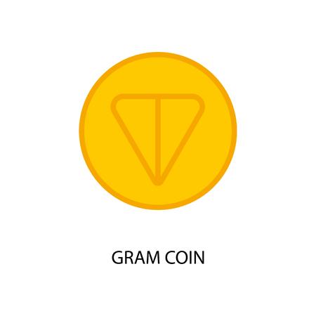 New telegram cryptocurrency Gram on new blockchain platform TON. Vector illustration Çizim