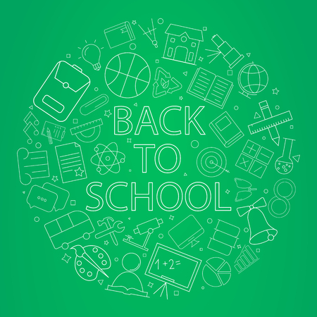 Welcome back to school banner with line icon on blackboard. Design template for banner, poster. Vector illustration