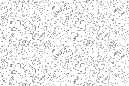 Vector Library and Online Library pattern. Library and Online Library seamless background. Vector illustration