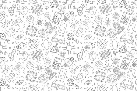 Vector Technology of future pattern. Technology of future seamless background. Vector illustration. 矢量图片