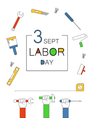 Happy Labor Day banner. Vector illustration.