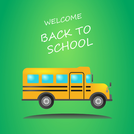 Back to school vector poster and banner with colorful school bus. Vector illustration.