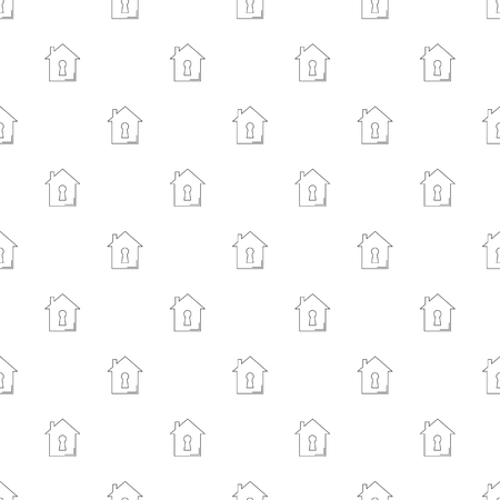 Home security background from line icon. Linear vector Ilustração