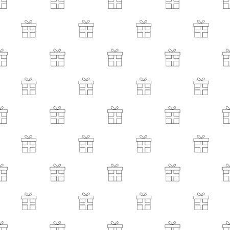 Gift background from line icon. Linear vector pattern