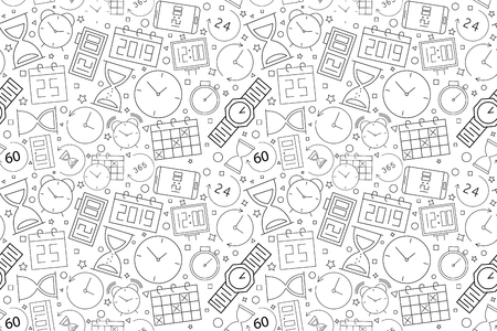 Vector Time pattern. Time seamless background. Vector illustration 일러스트