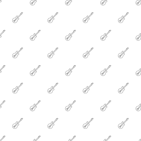 Electic guitar background from line icon. Linear vector pattern