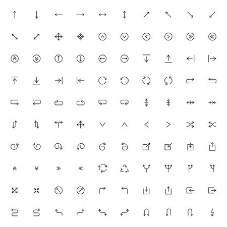 Ensemble d'icônes de ligne. Pack de flèches. Illustration vectorielle
