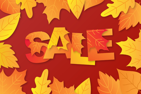 Autumn sale background layout decorate with word in maple leaves and leaves for shopping. Vector illustration